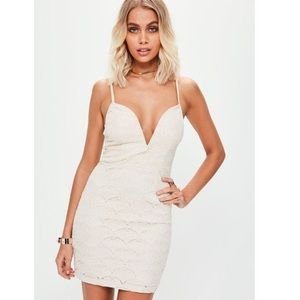 Missguided bodycon creme dress